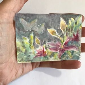 ACEO Original painting clematis flowers sunset art